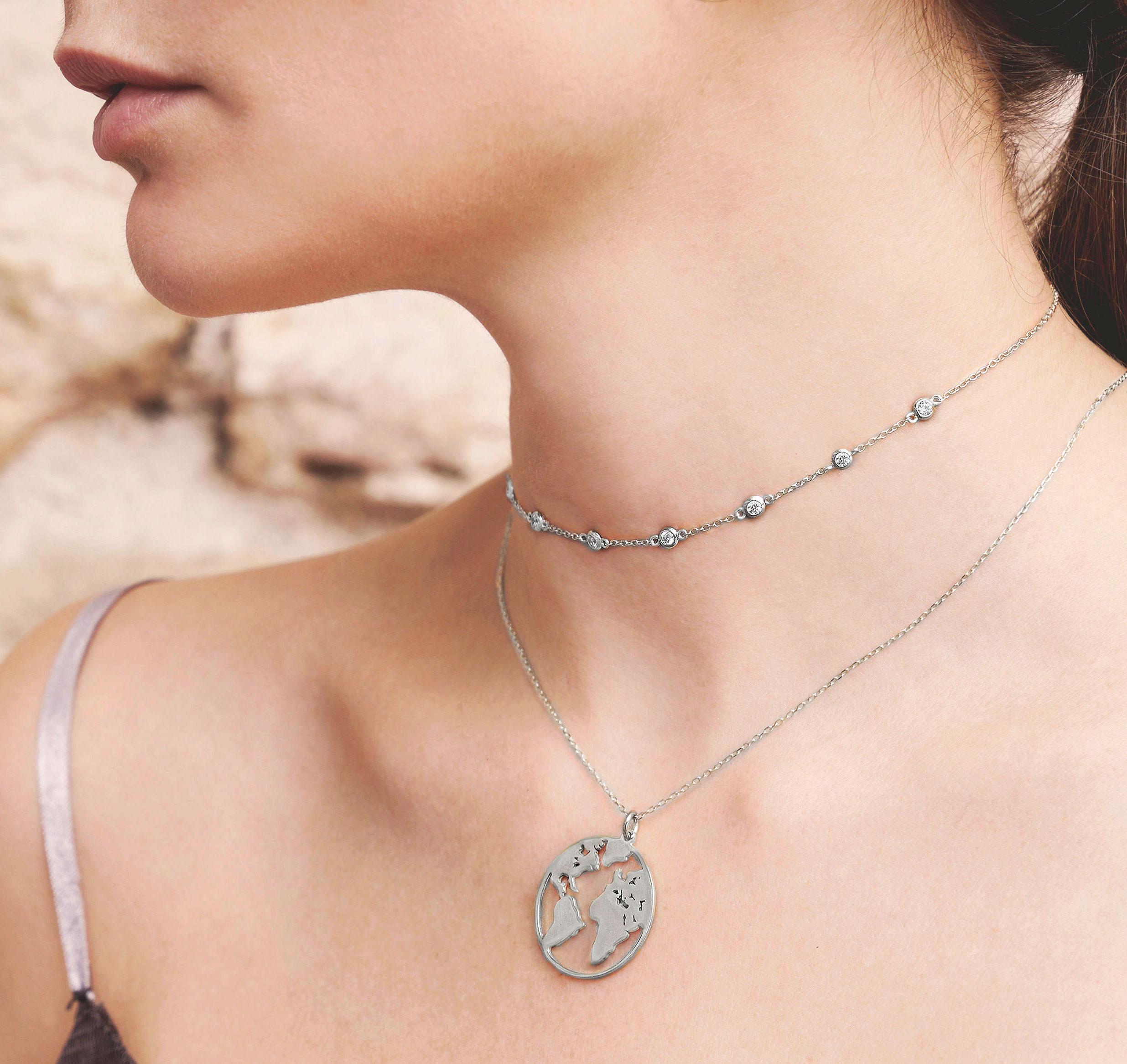 Vacation gift ideas wishiful world map necklace gumiabroncs Choice Image